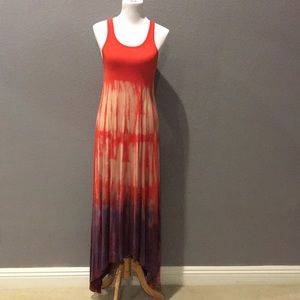 Red tie dye hi-low maxi dress